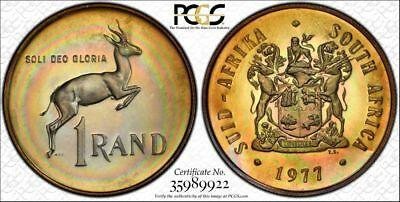 1977 South Africa 1 Rand 1R PCGS PR68CAM - Colorful Rainbow Toning