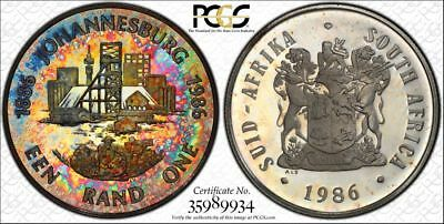 1986 South Africa 1 Rand 1R PCGS PR66DCAM - Colorful Rainbow Textile Toning