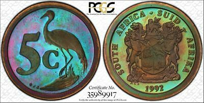 1992 South Africa 2 Cent 1C PCGS PR67RB - Colorful Rainbow Toning