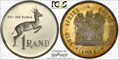 1984 South Africa 1 Rand 1R PCGS PR65CAM - Colorful Textile Toning