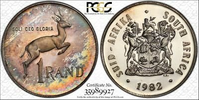 1982 South Africa 1 Rand 1R PCGS PR64CAM - Colorful Rainbow Toning