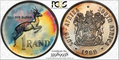 1988 South Africa 1 Rand 1R PCGS PR67CAM - Colorful Rainbow Toning