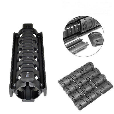 Quad Rail Handguard 6.7 Inch With 12Pcs/Pack Rubber Cover For Airsoft Hunting
