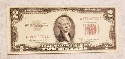 1953B red seal $2 note