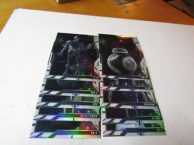 2018 TOPPS FINEST STAR WARS,  DROIDS AND VEHICLES INSERT SET. # DV-1 to DV-20