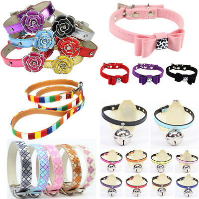 Adjustable Small Pet Dog PU Leather Collar Puppy Cat Buckle Neck Strap 5 Styles