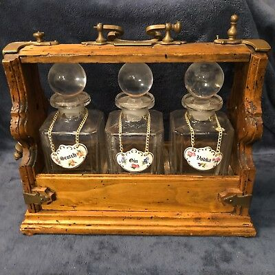Antique TANTALUS BAR BRASS AND WOOD DECANTER SET 3 WHISKEY BOTTLES LOCKING CADDY