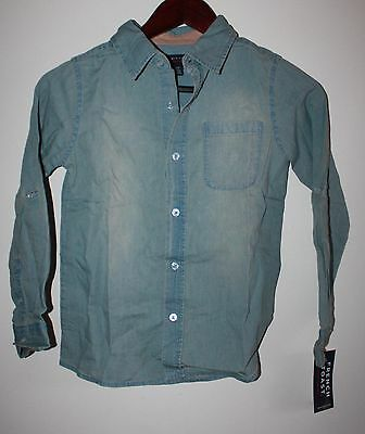 French Toast Long Sleeve Woven Shirt Light Blue  Size S (8)