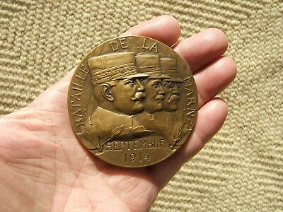 Bronze Wwi French Medallion Medal Frist Battle Of The Marne J P Legastelois