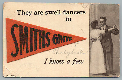 """Swell Dancers in SMITHS GROVE Kentucky"" Warren County KY Pennant Novelty 1912"