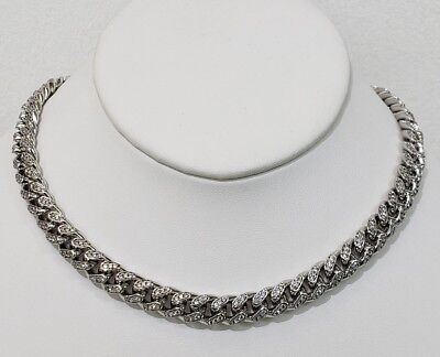10 Mm 14Kt White Gold Thick Solid Miami Cuban Links 20Ct Vvs1 Clarity Crystals