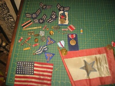 Vintage Antique Military Lot Pins Buttons Medals Etc Flag Patches Nr