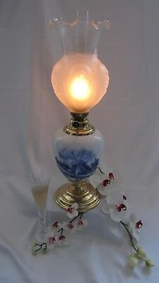 Table Lamp Parlor GWTW Oil  Antique Vintage Delft Kerosene Porcelain Banquet