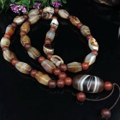 Old Tibet Hand Carved Natural Silkworm Agate Grind Beads Dzi Necklace