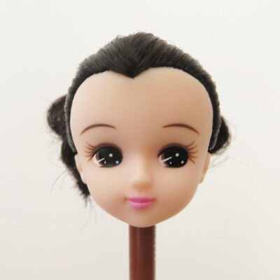 Head for Licca Doll White Skin Black Hair Cute Face Japan Doll DIY Head Gift