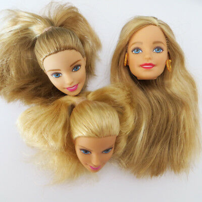 Head for Barbie Doll 3pcs Golden Hair Smile Face Doll DIY Head Soft Girl's Gift
