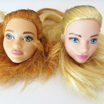 Doll Head 2pcs for Barbie Golden Hair Fashionistas Doll DIY Replace Head Soft