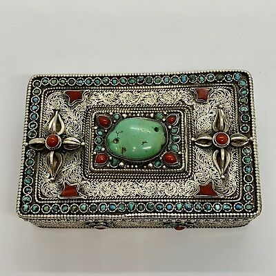 Antique Vintage Asian Sterling Silver Coral Turquoise Box.