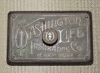 Antique Washington Life Insurance Cast Iron + Bronze Advertising Paperweight