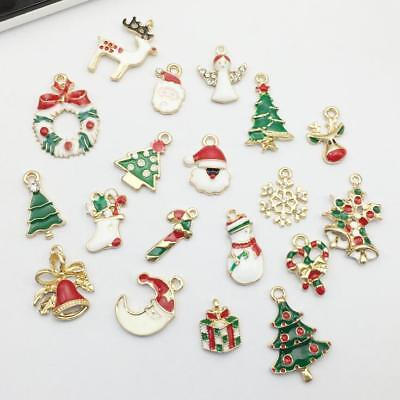 19Pcs/Set Enamel Alloy Christmas series small Charm Pendant DIY Ornament