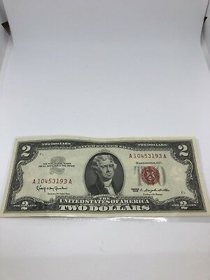 1963 Series $2 DOLLAR BILL OLD US NOTE LEGAL TENDER PAPER MONEY RED SEAL (0214)
