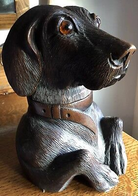 Antique Black Forest Hand Carved Wood Spaniel Dog Type Tobacco Cigar Humidor Box