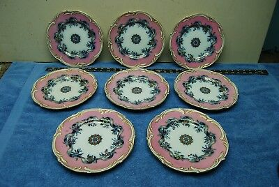 8pc Set Antique Pink & Flow Blue Victorian Ribbon & Floral Dinnerware Plates