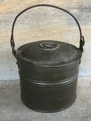 Antique Primitive Tinware Tin Bail Handle Bucket w Lid Grease Pail