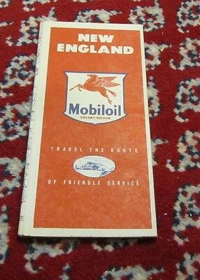 1940's Mobilgas Socony Vacuum Oil Company New England Road Map Travel Souvenir