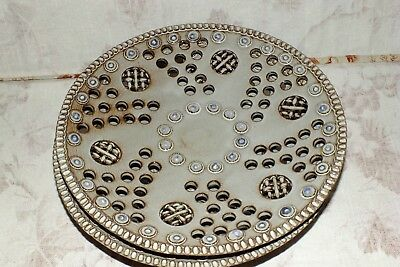 KERAMO CLAY POTTERY vintage PIERCED footed taupe BUFFET PLATES 2    EXC