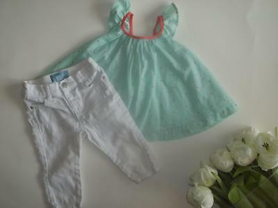 6bbb78a9 Baby Gap Girl 6-12M Spring Summer Top White Pants Clothes Outfit Lot 6 12