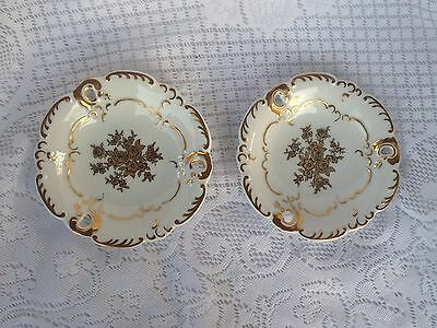 2 Wallendorf 1764 Germany (East) Gold/Black Flowers Porcelain Dishes (993)