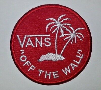 """VANS """"Off the Wall"""" Embroidered Patch~RED~3 1/8""""~Ski Skateboard~Iron or Sew On"""