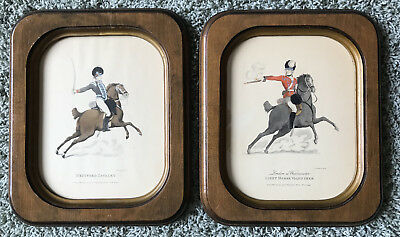 2 VINTAGE FRAMED 18th CENTURY ENGLISH SOLDIER HORSEMEN HAND COLORED PRINTS