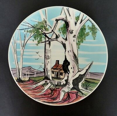 31cm VINTAGE STUDIO ANNA HAND PAINTED WALL display plate Australian  pottery