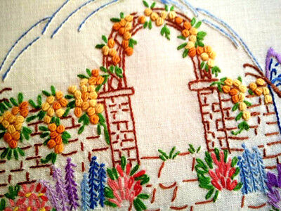 Glorious Raised Bullion Rose Arch & Gardens ~Vintage Hand Embroidered Centre/mat