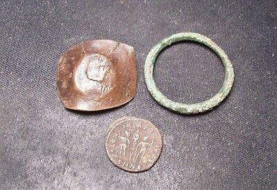 3 Coins Celtic ring proto money 600-400 BC, Roman, Byzantine Cup Coin Currency