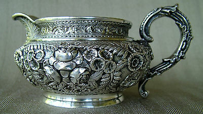 Rose Repousse Sterling Silver Pitcher