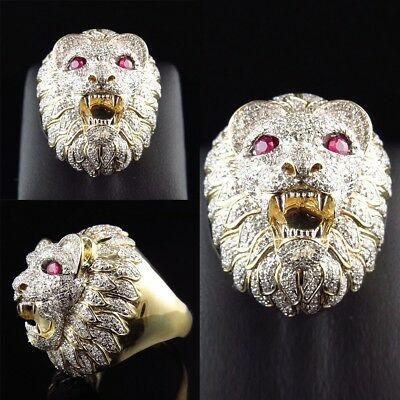Biker Men's Vintage Rings Gold Stainless Steel Lion Head Ring Band Size US 6-12
