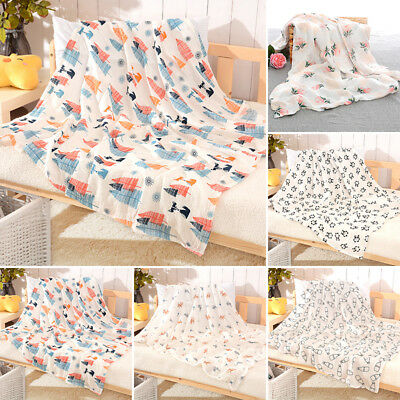 Newborn Baby Soft Cotton Print Swaddle Blanket & Muslin Warm Sleeping Wrap Cloth