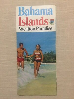 VTG 1960's BAHAMA ISLANDS VACATION PARADISE FOLD-OUT BROCHURE