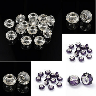 10x Unfading Alloy European Big Hole Rondelle Silver Bead Jewelry Making 12x9mm