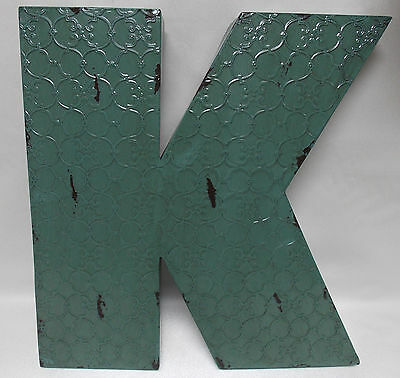 """Industrial Blue Metal 20"""" Wall Letter  """" K """"  Vintage Style Rustic Decor"""