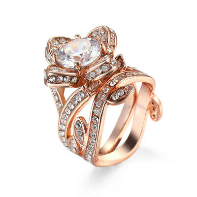 2PCS/set 18K Rose Gold Filler&Silver Couple Lover's Ring Casual Jewerly Size 8