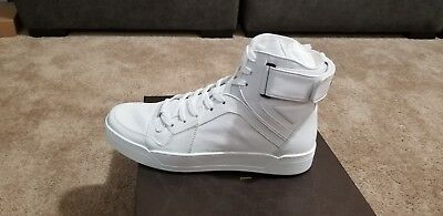 7e510473bcf0 GUCCI 386738 GG Men s High Top White Leather Sneakers Shoes Lace GUCCI 10.5