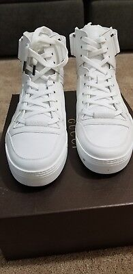 c4b18247563 GUCCI 386738 GG Men s High Top White Leather Sneakers Lace-up GUCCI SIZE  11.5