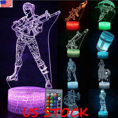 3D Lamp LED Night Light 7 Color USB Touch/Remote Table Desk Lamp Kid Gift Game