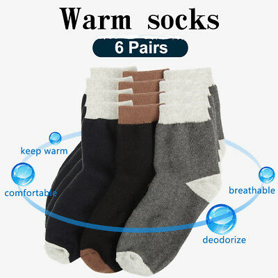 6 Pairs Men's Warm Socks Winter Thermal Casual Soft Cotton Sport Sock One Size