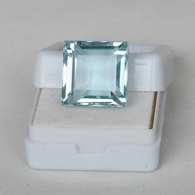 Natural 20.60 Ct. Certified Greenish Blue Color Aquamarine Square Cut Loose Gem
