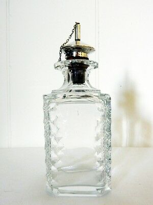 Rare Antique Art Deco 1928 Sterling Silver Cut Glass Oil Vinegar Pourer Pot Jar